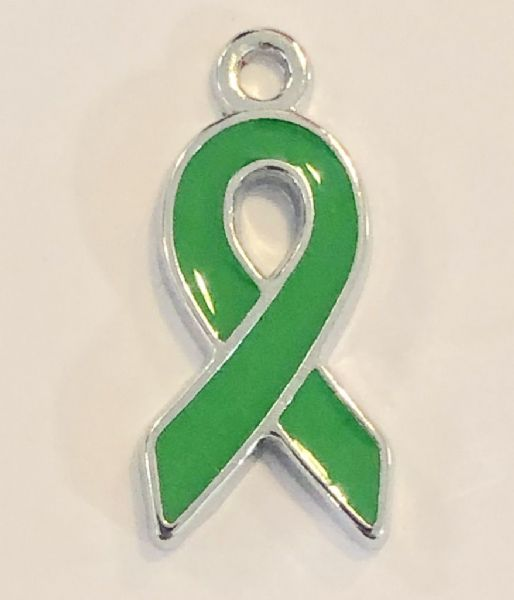 Green ribbon charms - 18mm x 9mm